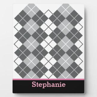 Grey Argyle Design Plaque