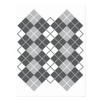 Grey Argyle Design Postcard