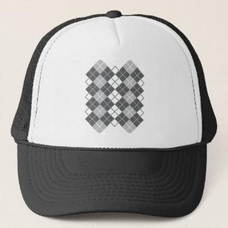 Grey Argyle Design Trucker Hat