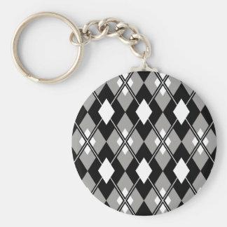 Grey Argyle Preppy Keychain