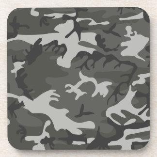 Grey army camouflage beverage coaster