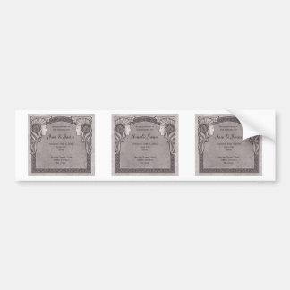 Grey Art Nouveau Wedding Bumper Sticker
