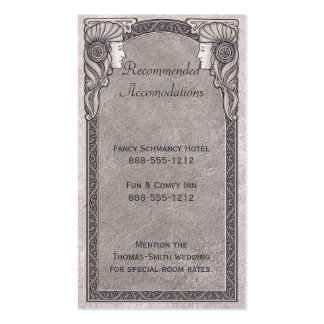 Grey Art Nouveau Wedding Double-Sided Standard Business Cards (Pack Of 100)