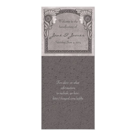 Grey Art Nouveau Wedding Card