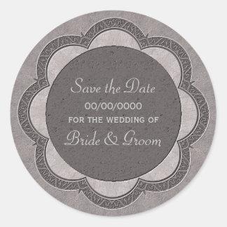 Grey Art Nouveau Wedding Classic Round Sticker
