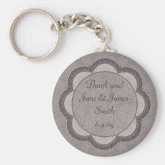 Grey Art Nouveau Wedding Basic Round Button Keychain