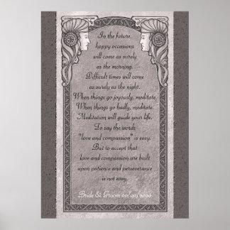 Grey Art Nouveau Wedding Poster