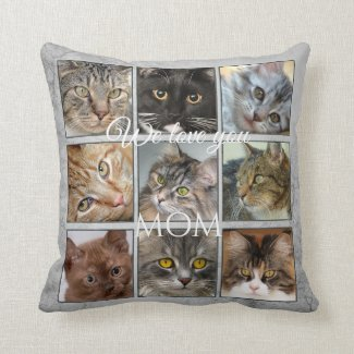 Grey Artistic Cat Mom Photo Collage Pillow