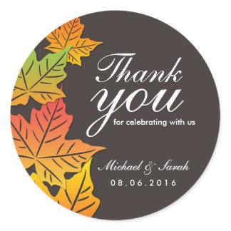 Grey Autumn Maple Leaf Wedding Thank You Sticker