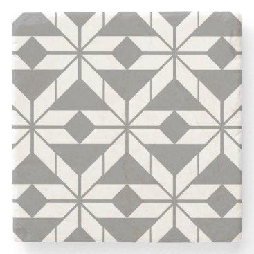 Aztec Themed Grey Aztec Geometric Design Marble Stone Coaster