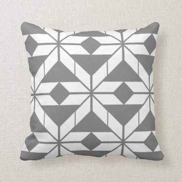 Aztec Themed Grey Aztec Geometric Design Throw Cushion