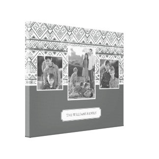 Grey Aztec Pattern | Family Photos & Text Canvas Print
