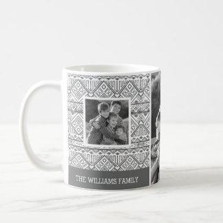 Grey Aztec Pattern | Family Photos & Text Coffee Mug