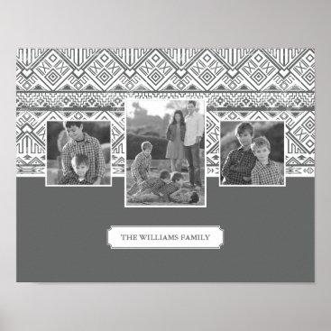 Aztec Themed Grey Aztec Pattern | Family Photos & Text Poster