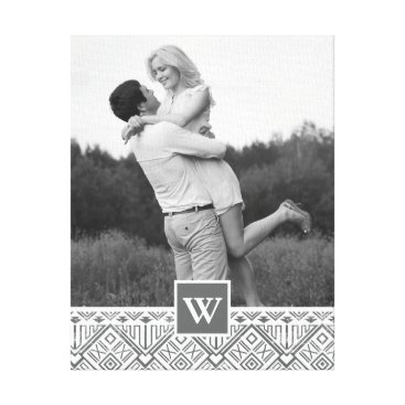 Aztec Themed Grey Aztec Pattern | Photo with Monogram Canvas Print