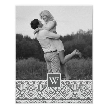 Aztec Themed Grey Aztec Pattern | Photo with Monogram Poster