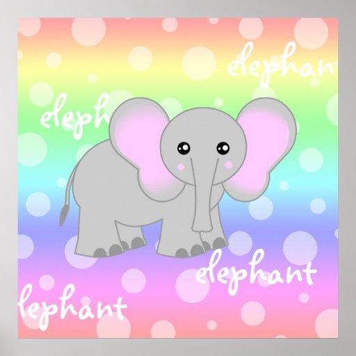 Grey Baby Elephant Cute Rainbow Poster Print