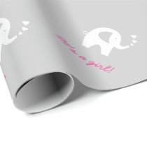 Grey baby shower wrapping paper with cute elephant