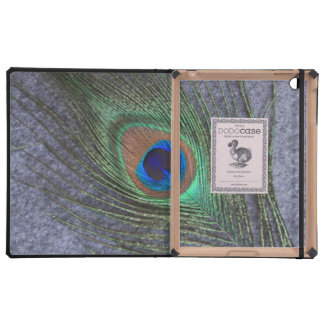 Grey Background Peacock Feather DODO iPad Case