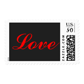 Grey Background Red Script Love Postage Stamps
