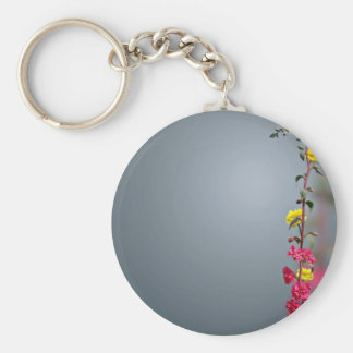 Grey Background With A Stalk Of Colorful Flowers Basic Round Button Keychain