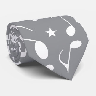 Grey Background with white notes tie 2