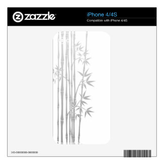 Grey Bamboo Sticks with Leaves on White iPhone 4 Skin