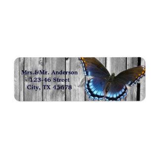Grey Barn Wood BLue Butterfly Wedding Label