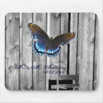 Grey Barn Wood BLue Butterfly Wedding Mouse Pad