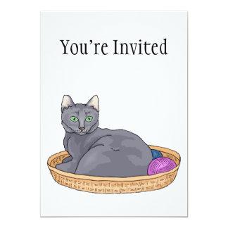Grey Basket Cat 5x7 Paper Invitation Card
