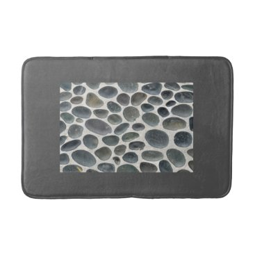 Beach Themed Grey bathmat with pebble patterned inset