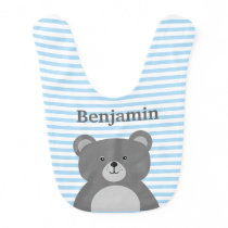 Grey bear with blue striped baby boy's bib
