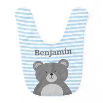 Grey bear with blue striped baby boy's bib