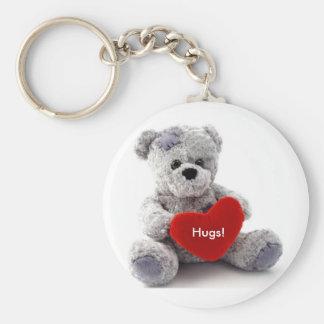 Grey Bear With Heart Keychain