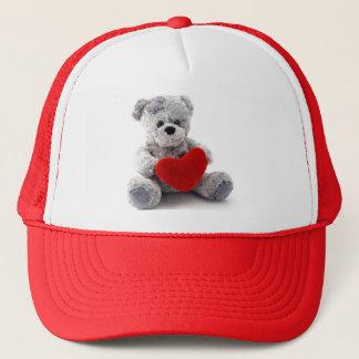 Grey Bear With Heart Trucker Hat