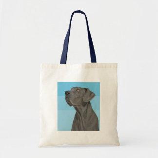Grey Beautiful Great Dane on Blue Canvas Bag