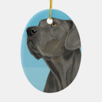 Grey Beautiful Great Dane on Blue Ceramic Ornament