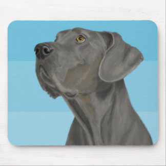 Grey Beautiful Great Dane on Blue Mouse Pad