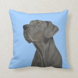 Grey Beautiful Great Dane on Blue Throw Pillow