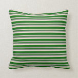 [ Thumbnail: Grey, Beige, and Dark Green Striped Pattern Pillow ]