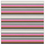 [ Thumbnail: Grey, Beige, Black, Brown, and Hot Pink Pattern Fabric ]