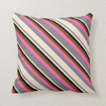 [ Thumbnail: Grey, Beige, Black, Brown, and Hot Pink Pattern Throw Pillow ]
