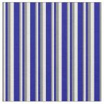 [ Thumbnail: Grey, Beige & Dark Blue Lines Fabric ]