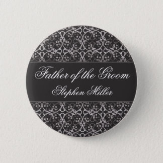 Grey Berry Cluster Wedding Party Button