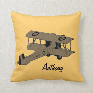 grey biplane kids room toss pillow