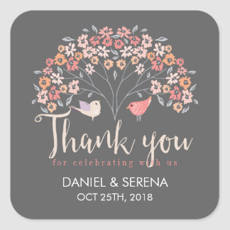 Grey Birds Floral Script Thank You Wedding Sticker