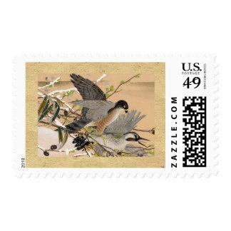 Grey Birds Vintage Stamp