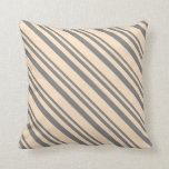 [ Thumbnail: Grey & Bisque Stripes Throw Pillow ]