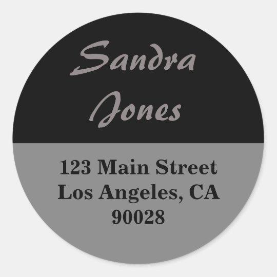 grey black  address label