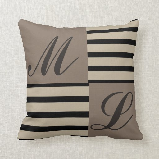 Grey Black and Beige stripes Monogram Throw Pillow Zazzle